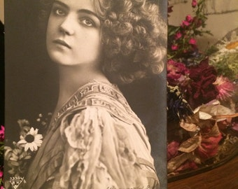 Real Antique Photo Postcard - Beautiful Girl - with Flowers