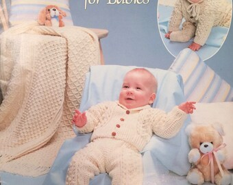 Crochet patterns for babies booklet, Fisherman Crochet, 1984, bunting, sweater, pants, mittens, booties, hat, afghan