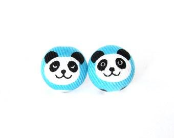 Panda stud earrings - blue white black fabric earrings - animal button earrings cute kids children