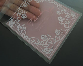 Clear Gift Bags Pink Transparent Bag Self Adhesive Resealable Plastic Bags Gift Wrapping Bags Packaging with Thank You and Rose 48pcs
