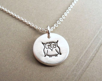 Tiny Owl Necklace, Tiny Owlet Necklace, Little Owl Jewelry, Fine Silver, Sterling Silver Chain, Made To Order