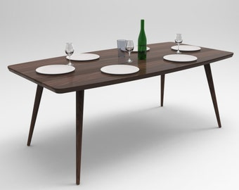 Mid Century Modern Walnut Dining Table Walnut Table Kitchen Table Modern Dining Table