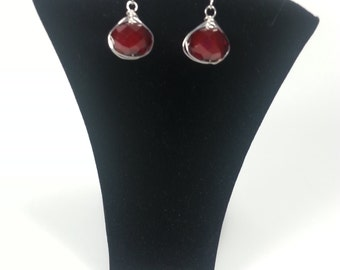 Red Quartz Wire Wrapped Earrings