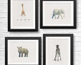 Nursery Wall Art, Animal Nursery Decor, Baby Animal Prints, Zoo Animal Painting, Baby Giraffe, Jungle Animals, Elephant Art, Set of 4 Prints