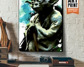 Star Wars fan art illustration of Yoda, Canvas Art Print, Sci-Fi movie art, Art Print, Geekery Art, Dorm Decor, Art for kids room