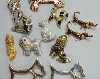 11 Vintage Dog Brooches Poodle Scottie Dachshund    NCY12