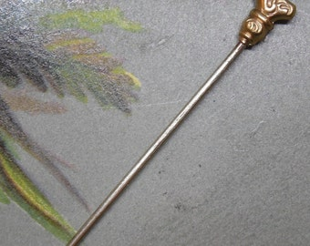 Antique Gold Walking Stick Figural Stickpin Hatpin Scarf Pin Stick Pin