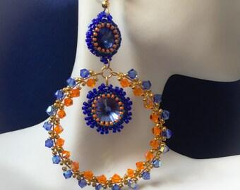 Blue and Orange Crystal Hoop Earrings