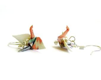 """Tiny Origami Crane Earrings White and Peach 3/4"""""""