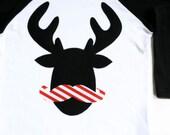 Mustache Reindeer Raglan Hipster T Shirt Christmas Boys Girls