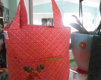 christmas bag  red bag green bag quilted bag