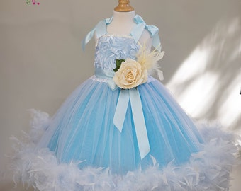 Blue Heaven Feather Flower Girl Dress