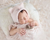 Newborn Photo Prop Hat- Newborn Kitten Hat - Baby Girl Photo Prop - Baby Girl Bonnet - Kitty Cat and Mouse Photo Prop - Pastel Pink
