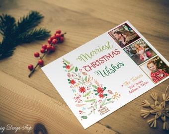 Photo Christmas Cards - Christmas Tree and Three Bordered Photos - Printed OR Digital