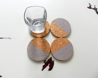 Mauve Geometric Cork Coasters - Round Cork Coasters - Housewarming Gift - Dip Dyed Coasters - Color Block Coaster - Drink Coaster Set