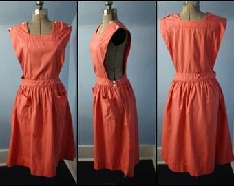 Vintage 1940s 1950s Pink Candy Stripper Apron Uniform Nurse Retro Jumper