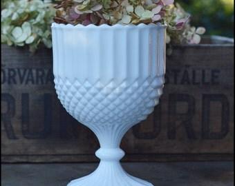 RESERVED FOR ROSANGELA / Vintage milk glass Pedestal Planter / Milk Glass Wedding Centerpiece / Milk Glass Hobnail / Candy Bar Buffet