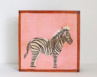 safari nursery art, jungle art, zebra art print, animal prints, childrens room decor, pink nursery art, art block, nursery safari decor