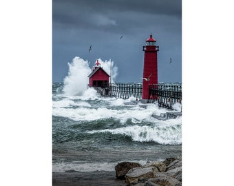November Storm on Lake Michigan by the Grand Haven Lighthouse with Flying Gulls No.240 Fine Art Lighthouse Seascape Photography