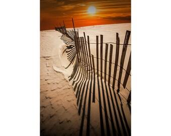 Snow Fence on the Beach at Sunset by Ludington Michigan No.1572 A Wall Decor Fine Art Beach Seascape Landscape Photograph