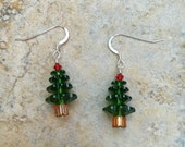 Traditional Red and Green Swarovski Christmas Tree Earrings