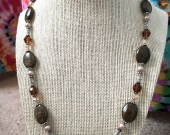 Crystal, Silver & Pearl Bronzite Necklace