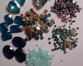 Kawaii blue rhinestone mix decoden deco diy---USA seller