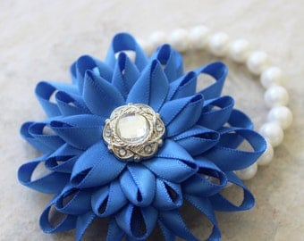 Wrist Corsage, Bridesmaid Flowers, Royal Blue Flower Corsage, Royal Blue Corsage, Choose your Color, Wrist Flowers, Royal Blue Wedding
