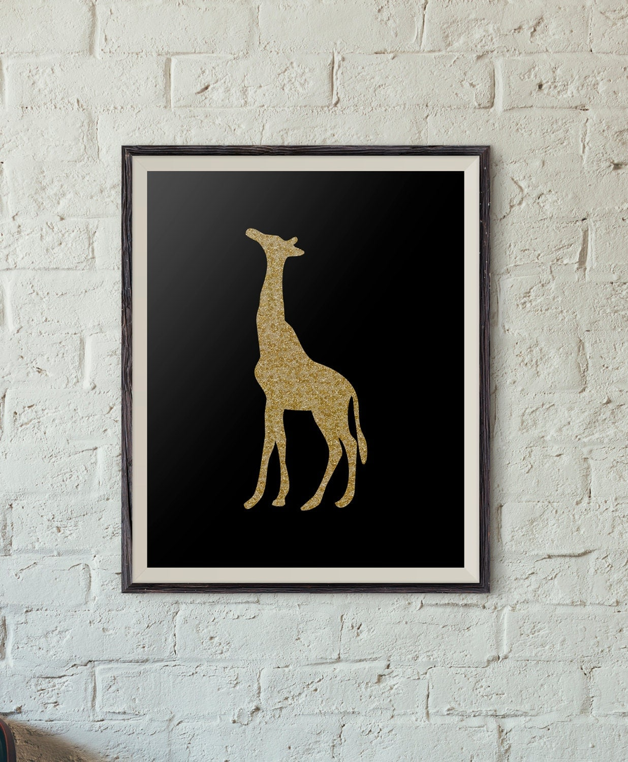 Wall Art Black Gold : Printable wall art black and gold sparkle giraffe by