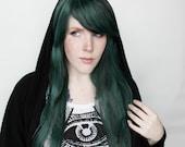 Long Green wig | Dark Green Black Scene wig | Cyber Goth wig | Straight Green Scene wig | Scene Emo wig | Jade Evergreen