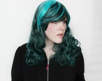 SALE Long Green wig | Teal Turquoise wig | Curly Teal wig | Cosplay wig, Alternative Hair | Teal Waters