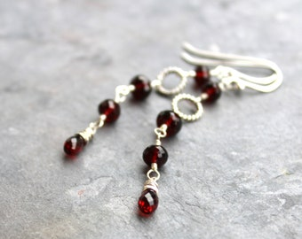 Garnet Earrings Silver Dangle Earrings January Birthstone Red Sterling Silver Earrings