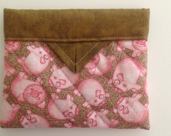 Pink Pigs Quilted Fabric Mini Snap Bag Purse Pouch 5 1/4 x 4-1/4