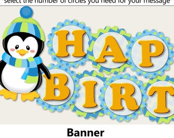 Winter Onederland Penguin Birthday Party BANNER or Penguin Baby Shower Decorations - Cake Topper, Invitations, Banner, Cupcake, blue and g
