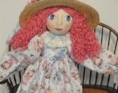Art Doll Folk art with pink hair straw hat handmade cloth art doll