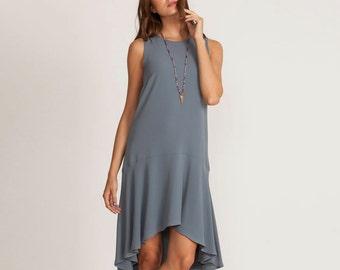 Gray summer Dress, short cocktail dress, gray dress, asymmetrical evening dress, low waist dress,