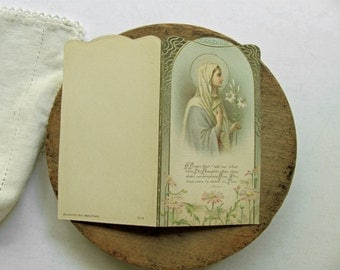 Vintage Holy Card Prayer Card Mary Catholic Religious Picture France 1932 Fils Gerson Prayer Book Paper Ephemera O Virgin Blest Tell What