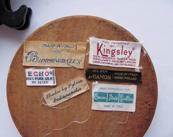 Vintage Clothing Tags Label Bloomingdale Carson Pirie Scott Kingsley Echo Damon Sylvia Designer Brand Clothe Tag Fabric Supplies Altered Art