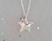 Twinkle -Rainbow Crystal AB- Personalised Swarovski Star Necklace, Star Jewelry, Wedding, Christmas, Stocking Filler, Customise, birthday,