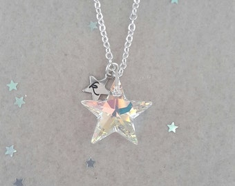 Twinkle -Rainbow Crystal AB- Personalised Swarovski Star Necklace, Star Jewelry, Wedding, Christmas, Stocking Filler, Customise, birthday,