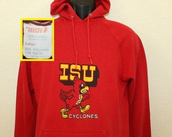 Iowa State Cyclones vintage hoodie hooded sweatshirt S/M red 70s 80s Wolf