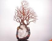 "Wire Tree Of Life sculpture, Quartz Crystal, Ancient Wind Tree of Fellowship, Gemstone art, unique handmade decor gift, metal tree art, 14"""