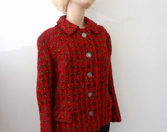 1960s Wool Tweed Jacket - red & green plaid suit coat - classic vintage fashion
