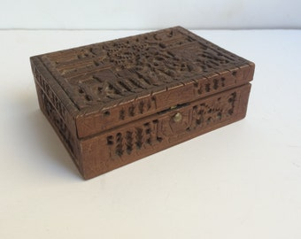 Vintage Carved Sheesham Wood Trinket Box ~ Jewelry Box ~ Made in India