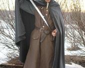 Wool Elvish Cloak with Hood Medieval Hobbit Lord of the Rings