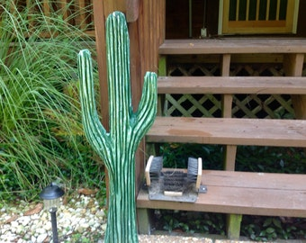 Cactus 3ft chainsaw sequoia cacti western  carving indoor outdoor wooden wall mount southwest home decor desert living log cabin art