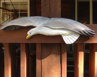 "Flying Sea Gull 34"" chainsaw wood shore bird carving indoor outdoor rustic beach cottage wall mount nautical wild bird sculpture Ocean art"