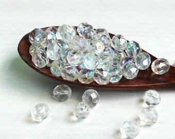 25 Czech Glass 8mm Beads Fire Polished Clear - CB158