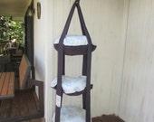 Cat Bed, Tan & Blue Swirl Triple Kitty Cloud Hanging Cat Bed, Pet Furniture, Cat Tree, Pet Gift, Cat Gift