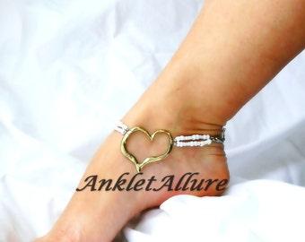 Her Heart Of Gold Anklet Heart Ankle Bracelet Double Ankle Bracelet Bridal Anklet Garter Ceremony Ankle Bracelet
